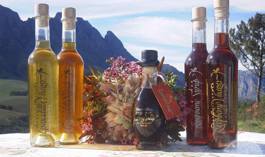 Protea Hill Farm products with mountain view